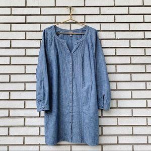 J. Jill Cotton Pintuck Denim Tunic Button Up Dress